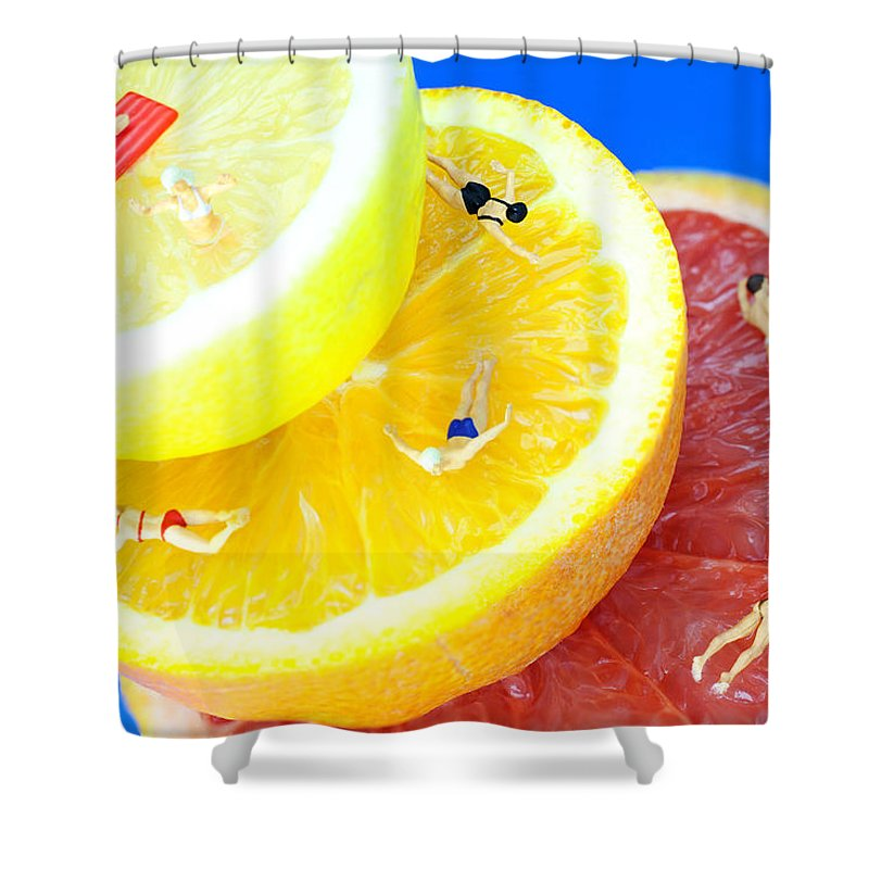 Water Shower Curtain featuring the photograph The Swimming Pool Little People On Food by Paul Ge