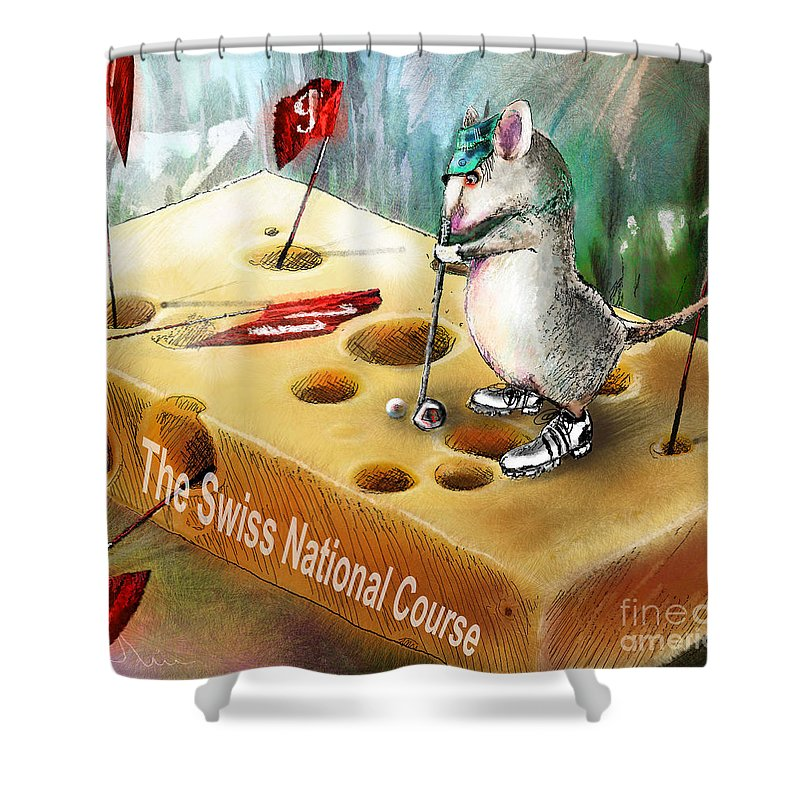 Golf Humour Shower Curtain featuring the painting The Swiss National Course by Miki De Goodaboom