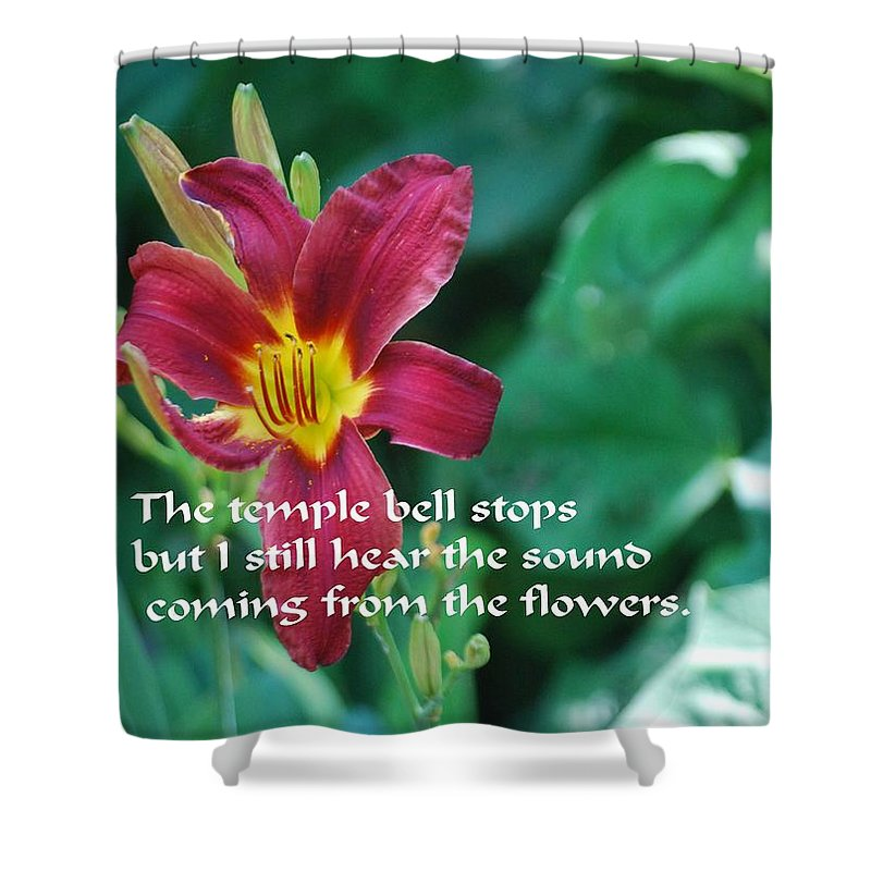 Red Shower Curtain featuring the photograph The Temple Bell by Gary Wonning