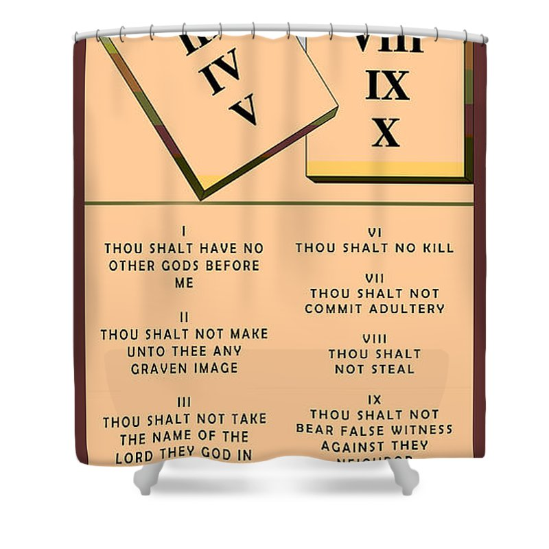 Barbara Snyder Shower Curtain featuring the digital art The Ten Commandments by Barbara Snyder