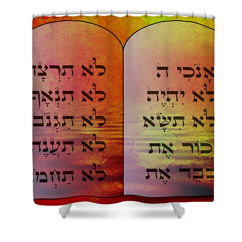 Hebrew Shower Curtain featuring the digital art The Ten Commandments - Featured In Comfortable Art Group by Ericamaxine Price