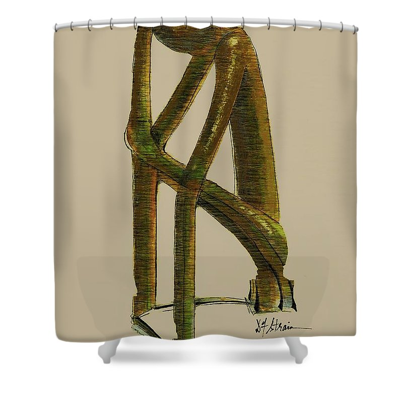Fineartamerica.com Shower Curtain featuring the painting The Thinker  Number 7 by Diane Strain