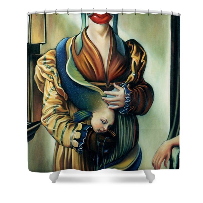 Pet Shower Curtain featuring the painting The Third Deadly Fin by Patrick Anthony Pierson