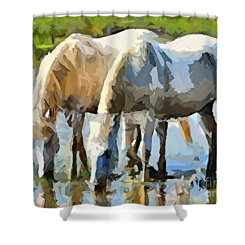 Rhone River Shower Curtain featuring the painting The Thirst by Dragica Micki Fortuna