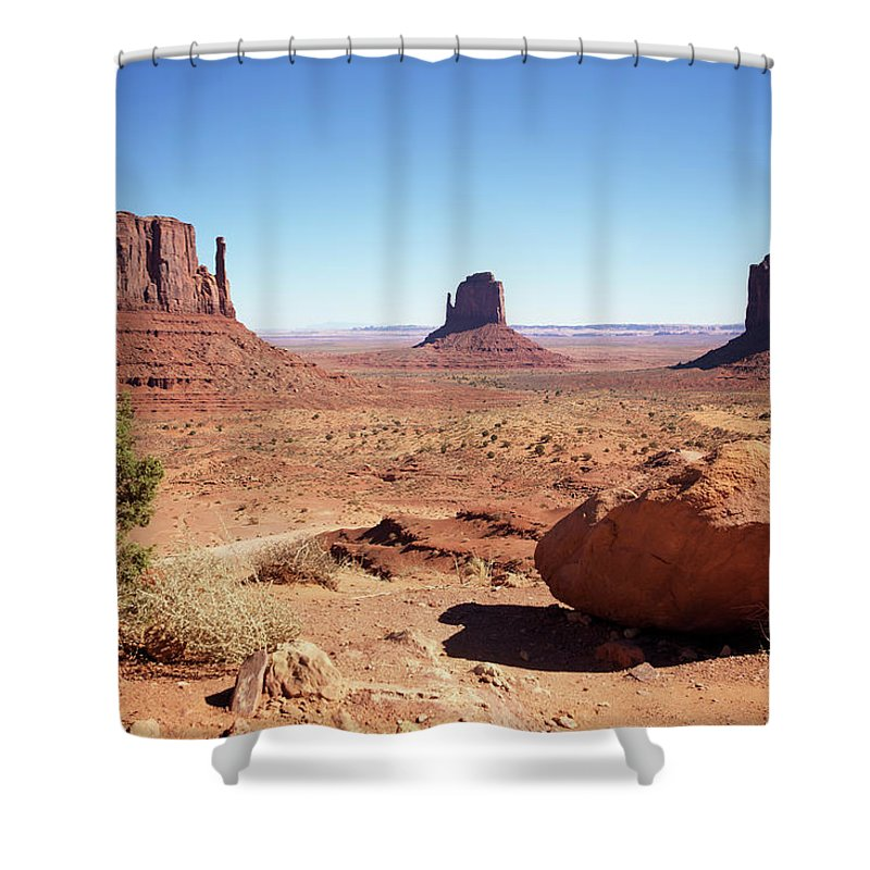 Geology Shower Curtain featuring the photograph The Three Sisters At Monument Valley by Focus on nature