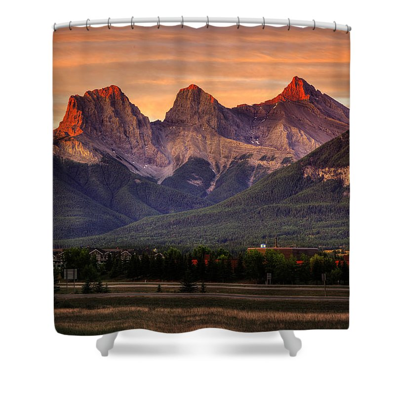 Three Sisters Mountains Shower Curtain featuring the digital art The Three Sisters Canmore by Diane Dugas