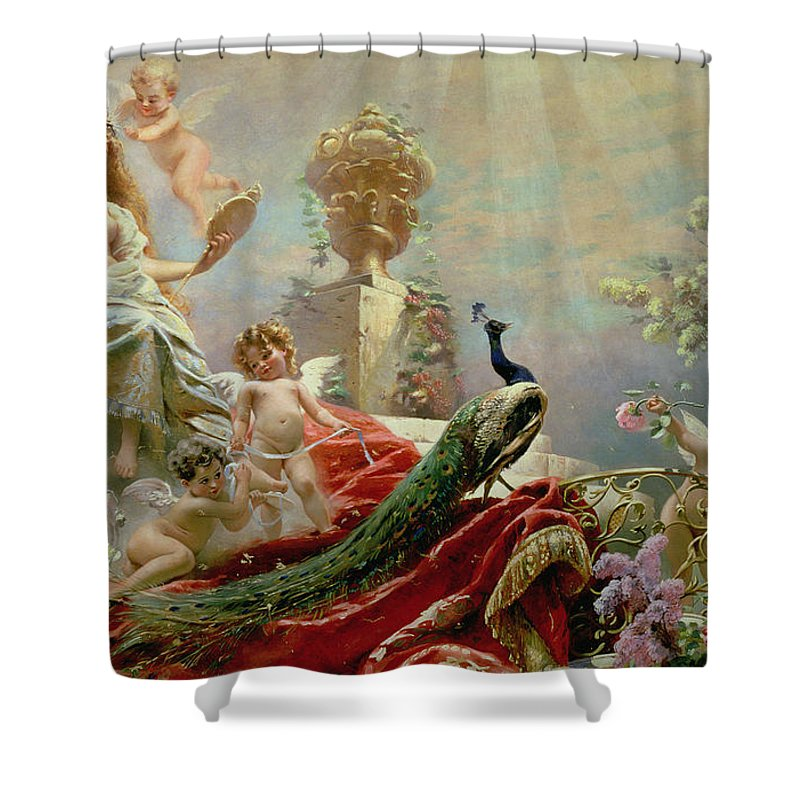 The Toilet Of Venus Shower Curtain featuring the painting The Toilet Of Venus by KE Makovsky