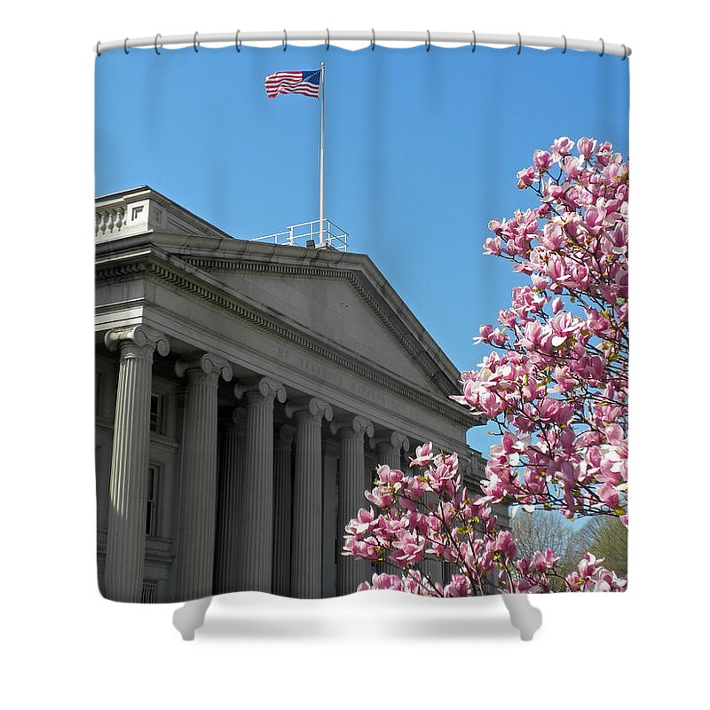 The Treasury Building Shower Curtain featuring the photograph The Treasury Building by Dave Mills