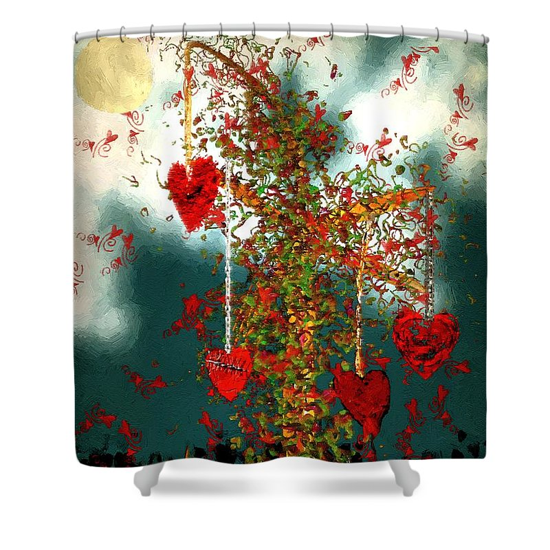 Hearts Shower Curtain featuring the painting The Tree Of Hearts by RC DeWinter