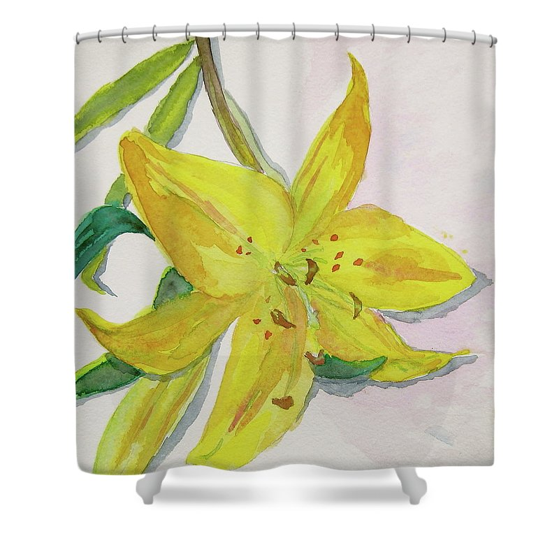 Lily Shower Curtain featuring the painting The Trickiness Of Yellow by Beverley Harper Tinsley