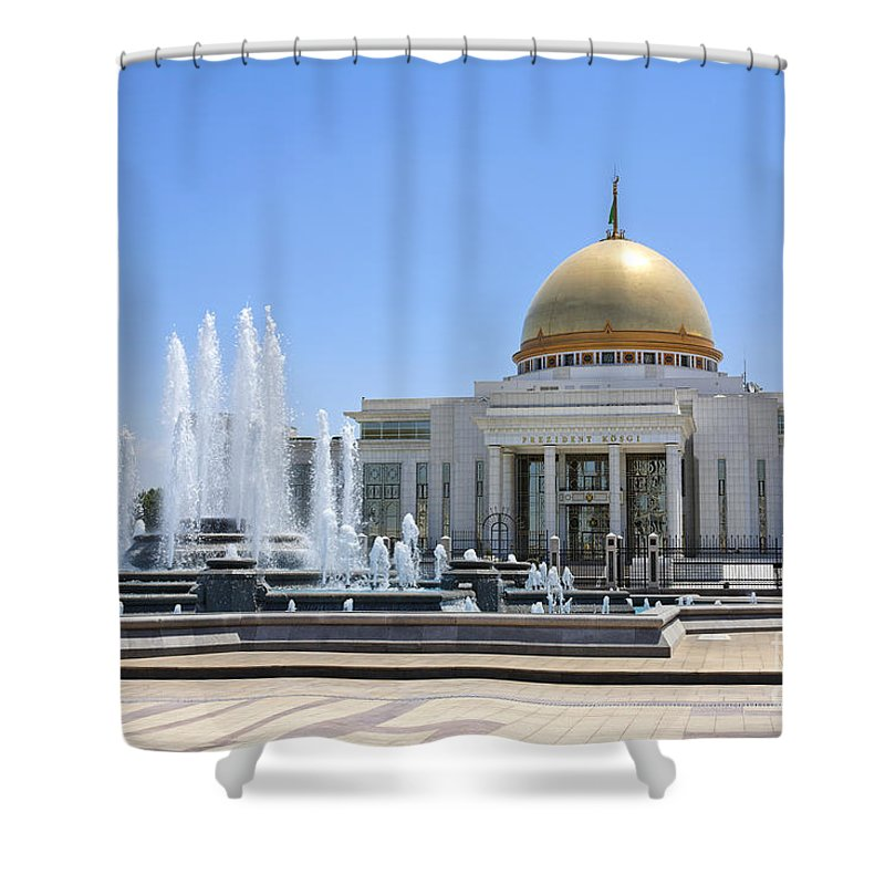 Turkmenistan Shower Curtain featuring the photograph The Turkmenbashi Palace In Independence Square In Ashgabat Turkmenistan by Robert Preston