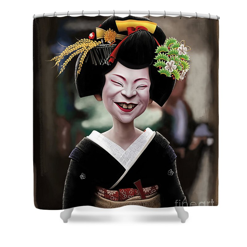 Geisha Shower Curtain Featuring The Digital Art Ugly By Andre Koekemoer