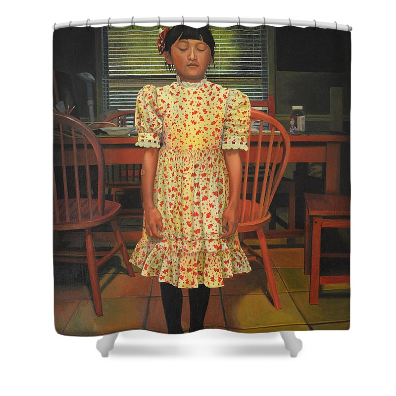 Children Paintings Shower Curtain featuring the painting The Valentine Dress by Thu Nguyen