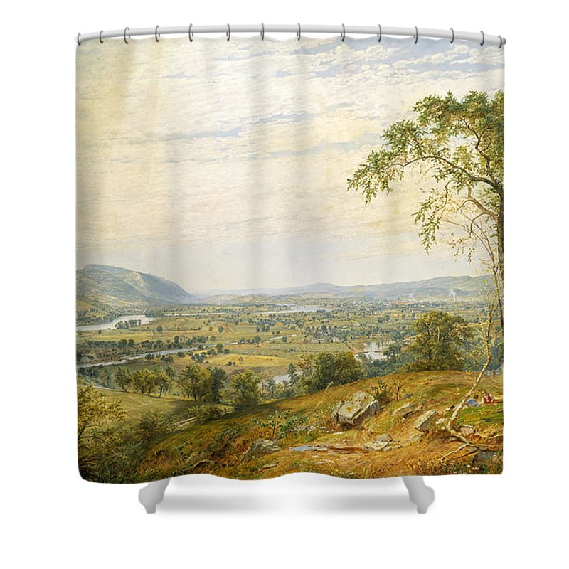 Jasper Francis Cropsey Shower Curtain featuring the painting The Valley Of Wyoming by Jasper Francis Cropsey