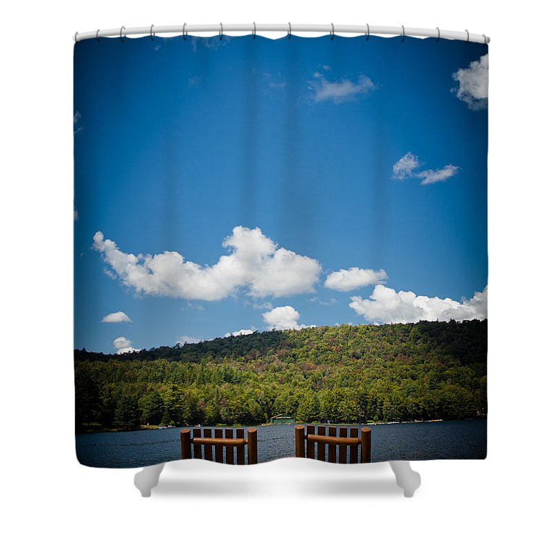 Big Moose Lake Shower Curtain featuring the photograph The View From Big Moose Inn by David Patterson