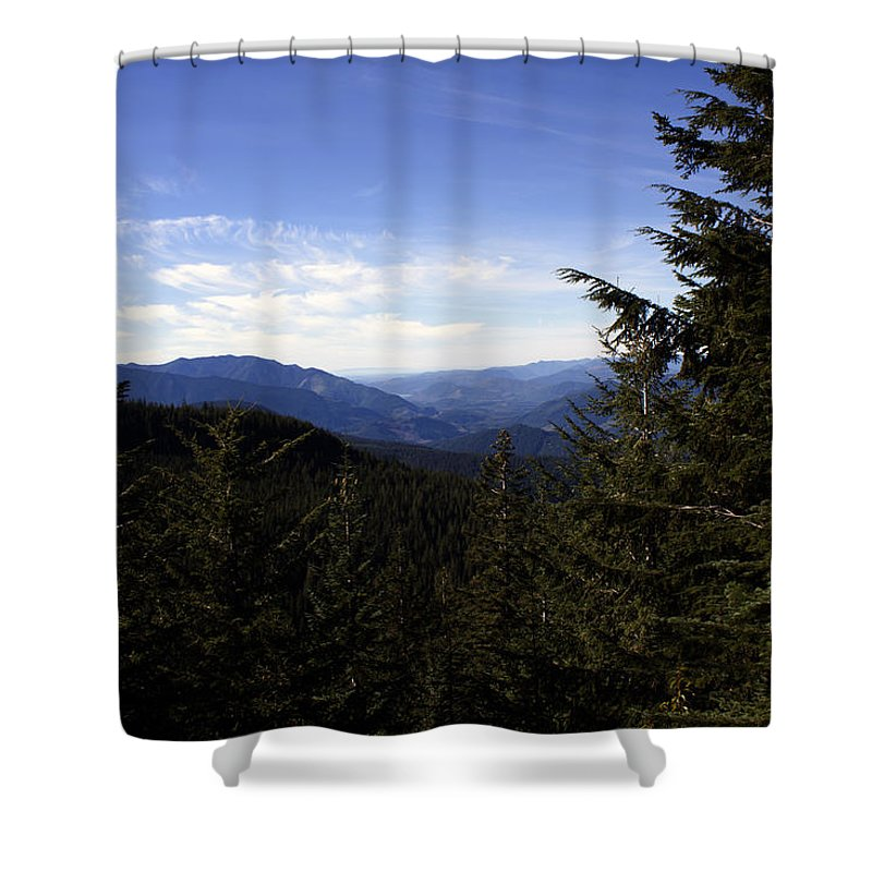 Nature Shower Curtain featuring the photograph The View From Nf 7605 No 1 by Edward Hawkins II