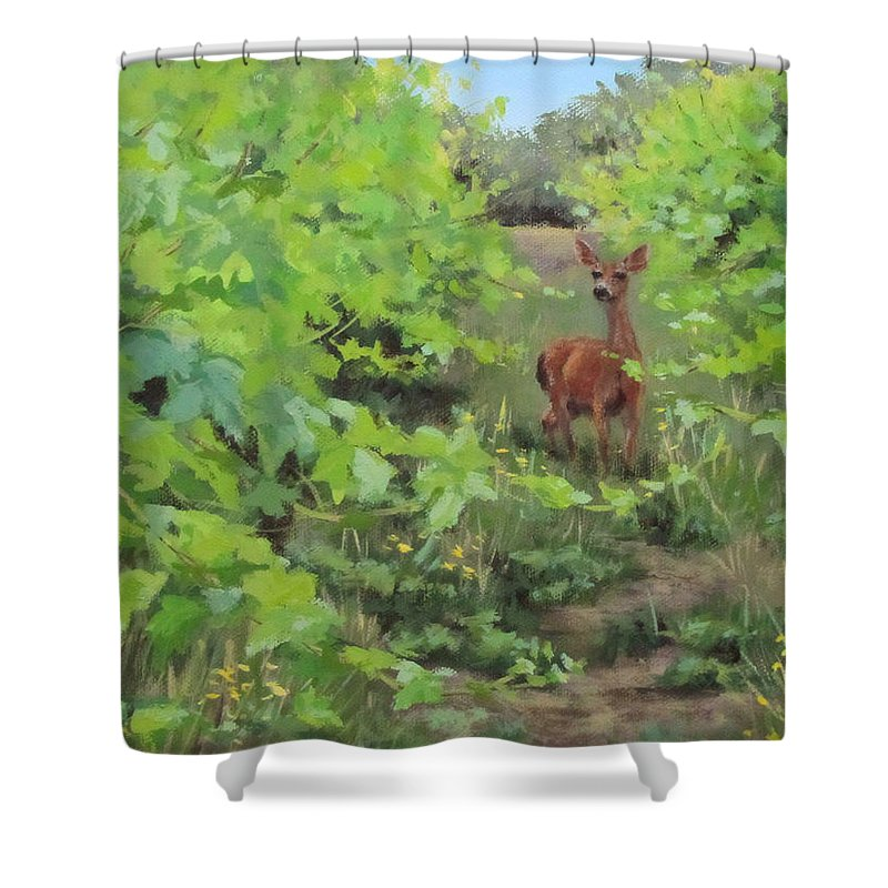 Original Shower Curtain featuring the painting The Visitor by Karen Ilari