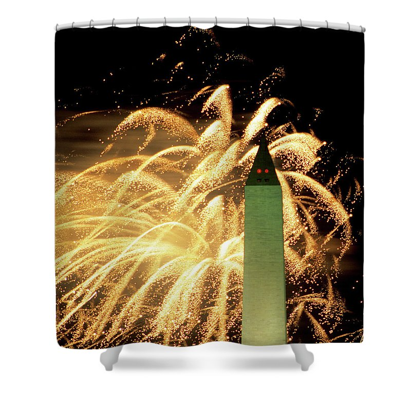 Firework Display Shower Curtain featuring the photograph The Washington Monument And Fireworks by Hisham Ibrahim