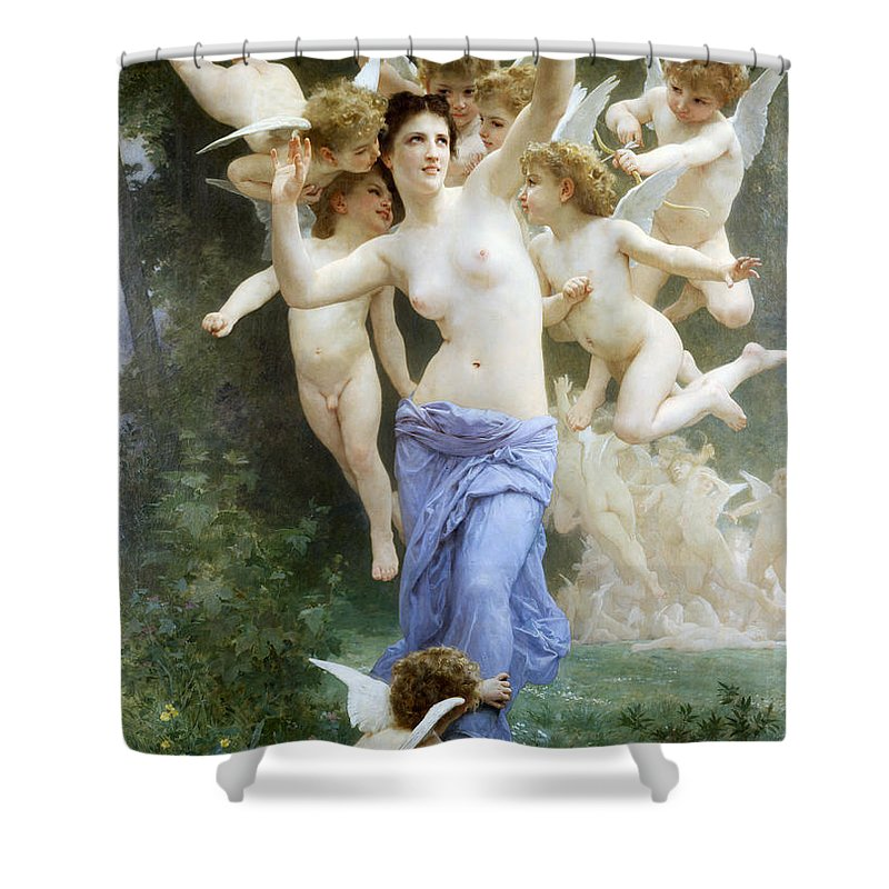 The Wasp's Nest Shower Curtain featuring the digital art The Wasp's Nest by William Bouguereau
