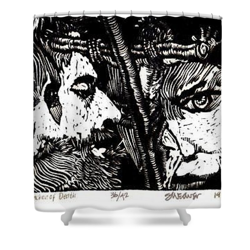 Spectators At The Crucifiction Of Jesus Christ Shower Curtain featuring the relief The Watchers Of Death by Seth Weaver