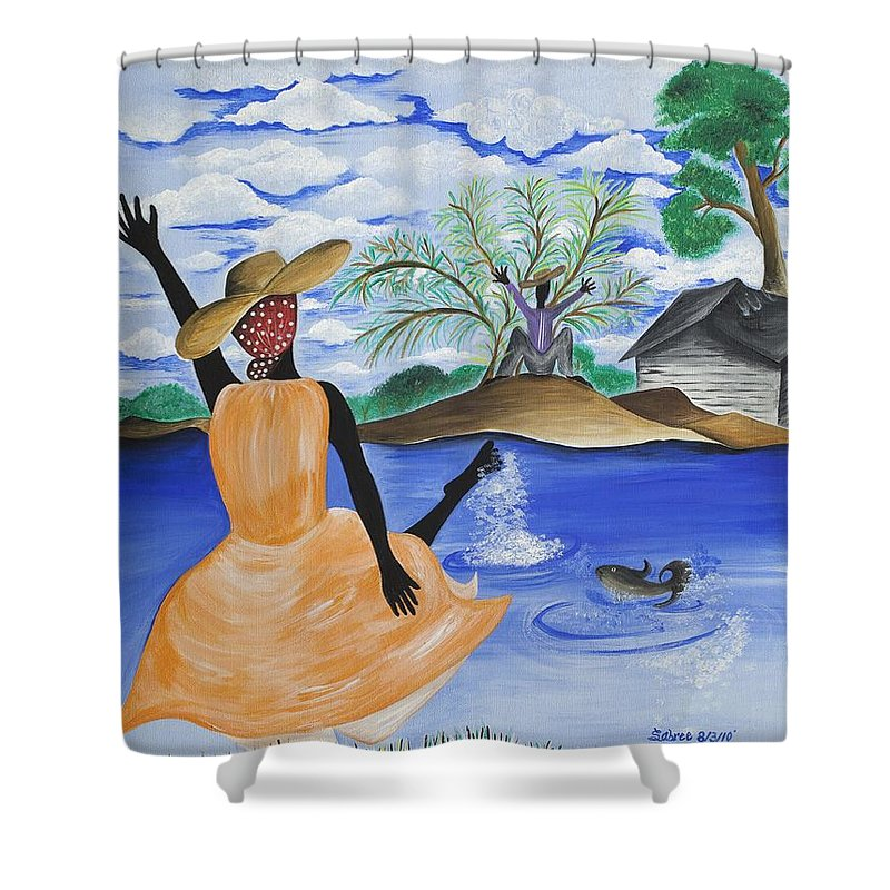 Gullah Art Shower Curtain featuring the painting The Welcome River by Patricia Sabree