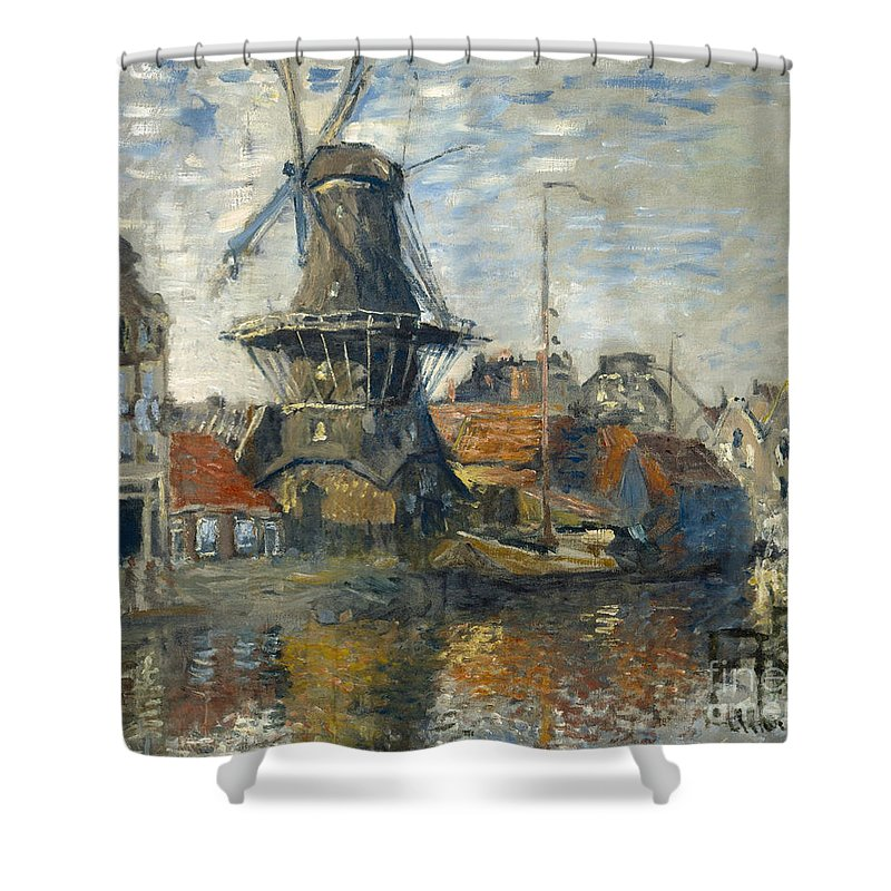 Claude Shower Curtain featuring the painting The Windmill On The Onbekende Gracht Amsterdam by Claude Monet