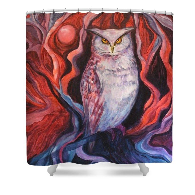 Owls Shower Curtain featuring the painting The Wise One by Carolyn LeGrand