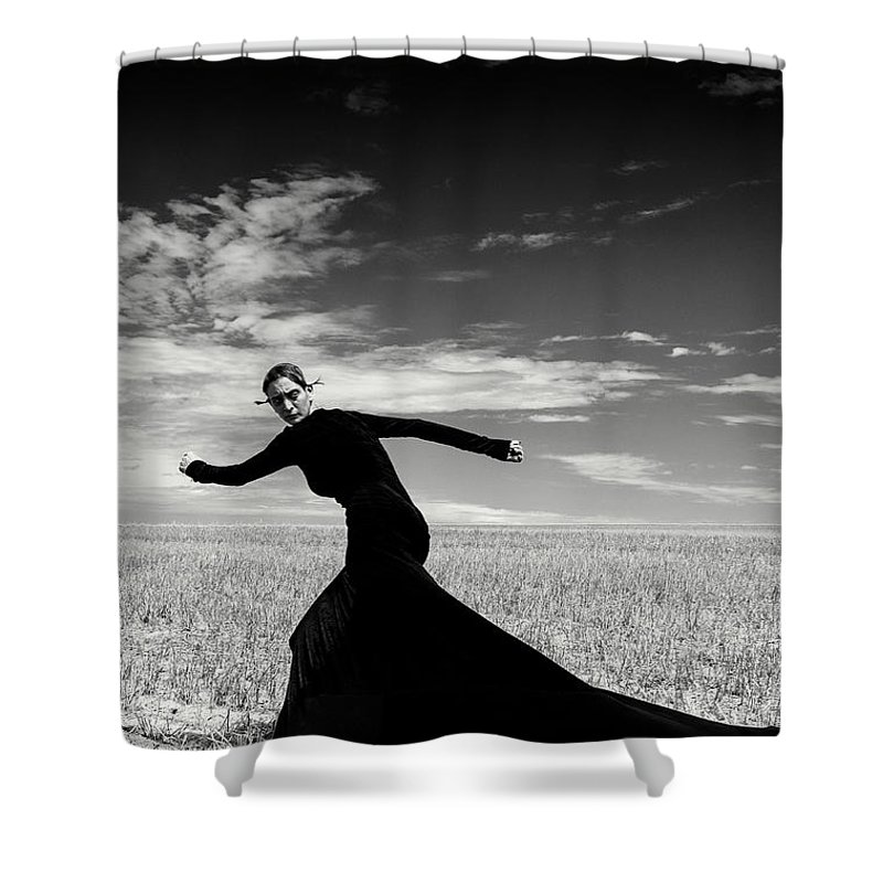 Looking Over Shoulder Shower Curtain featuring the photograph The Witch by Funky-data