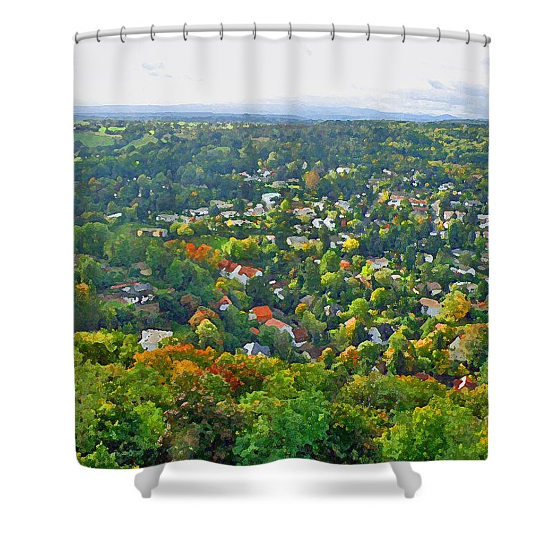 View Shower Curtain featuring the photograph The World Stands Out On Either Side by Jean Hall