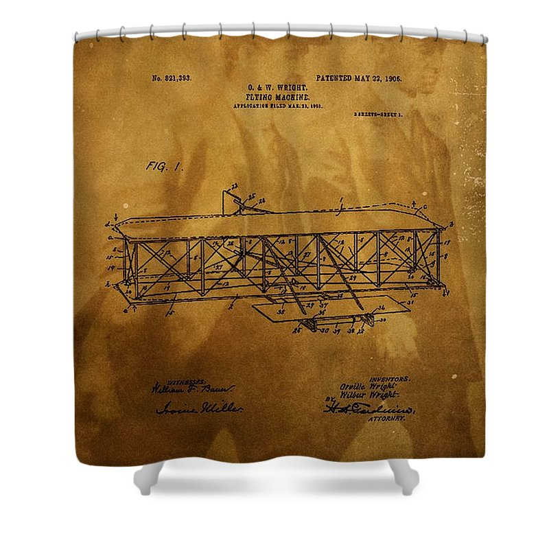 The Wright Brothers Airplane Patent Shower Curtain featuring the photograph The Wright Brothers Airplane Patent by Dan Sproul