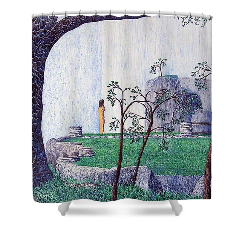 Landscape Shower Curtain featuring the painting The Yearning Tree by A Robert Malcom