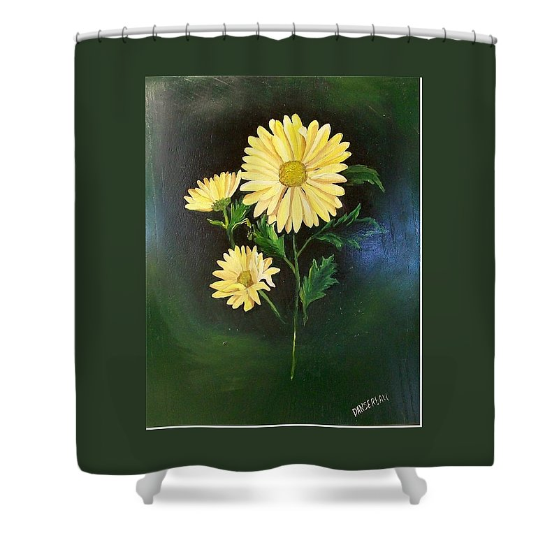Flower Shower Curtain featuring the painting The Yellow Daisy by Wanda Dansereau
