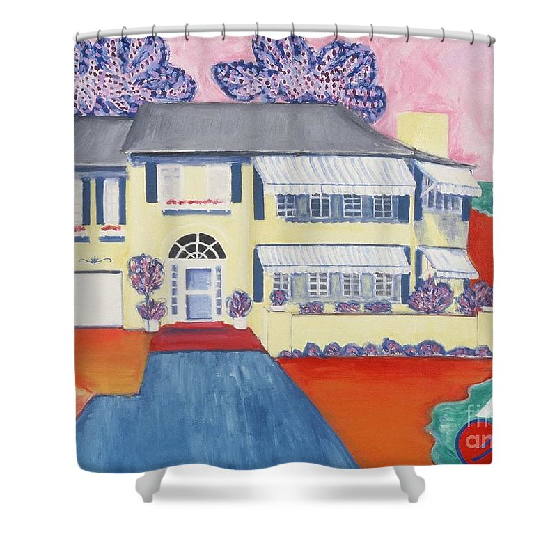 Painting Shower Curtain featuring the painting The Yellow House by Karen Francis