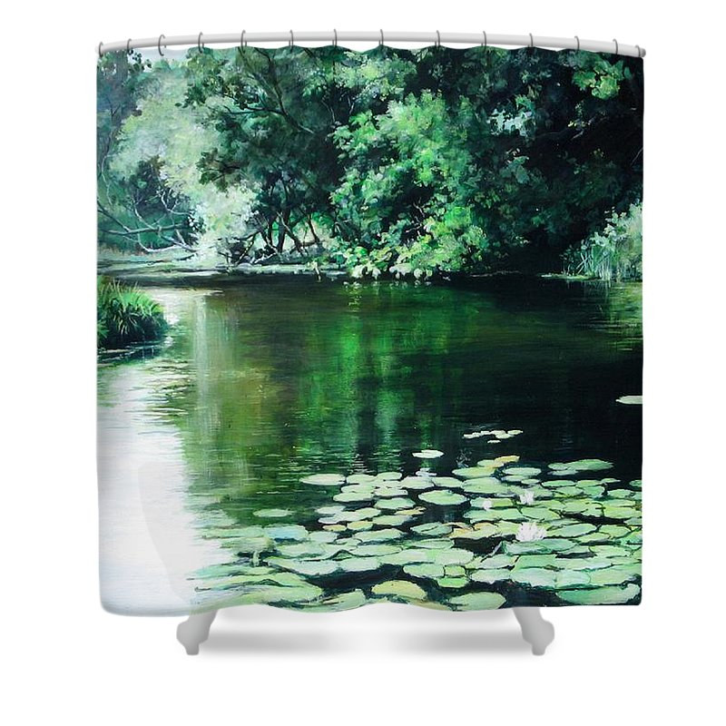 Landscape Shower Curtain featuring the painting Their Spot by William Brody