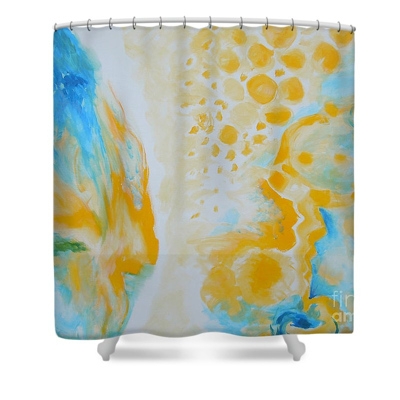 Circles Shower Curtain featuring the painting There - Looking At Me by Tonya Henderson