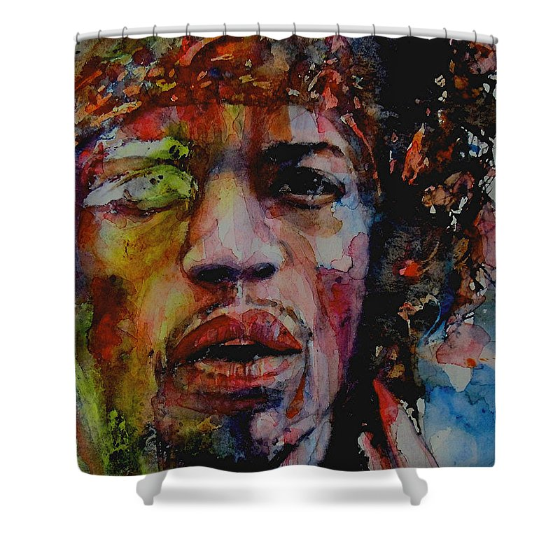 Hendrix Shower Curtain featuring the painting There Must Be Some Kind Of Way Out Of Here by Paul Lovering