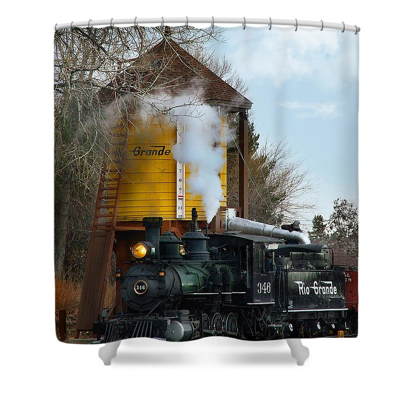 Steam Train Shower Curtain featuring the photograph Thirsty by Ken Smith