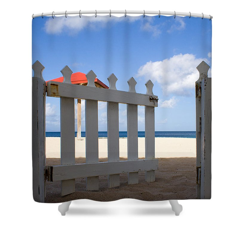 Antigua And Barbuda Shower Curtain featuring the photograph This Way Please by Ferry Zievinger