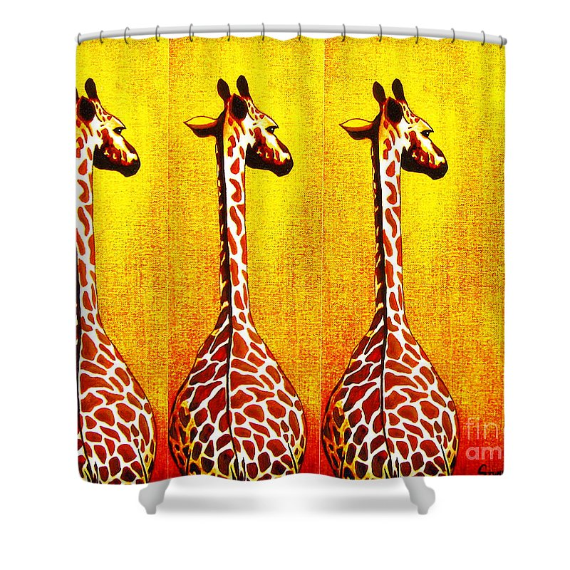 Giraffe Shower Curtain featuring the painting Three Amigos Giraffes Looking Back by Jerome Stumphauzer