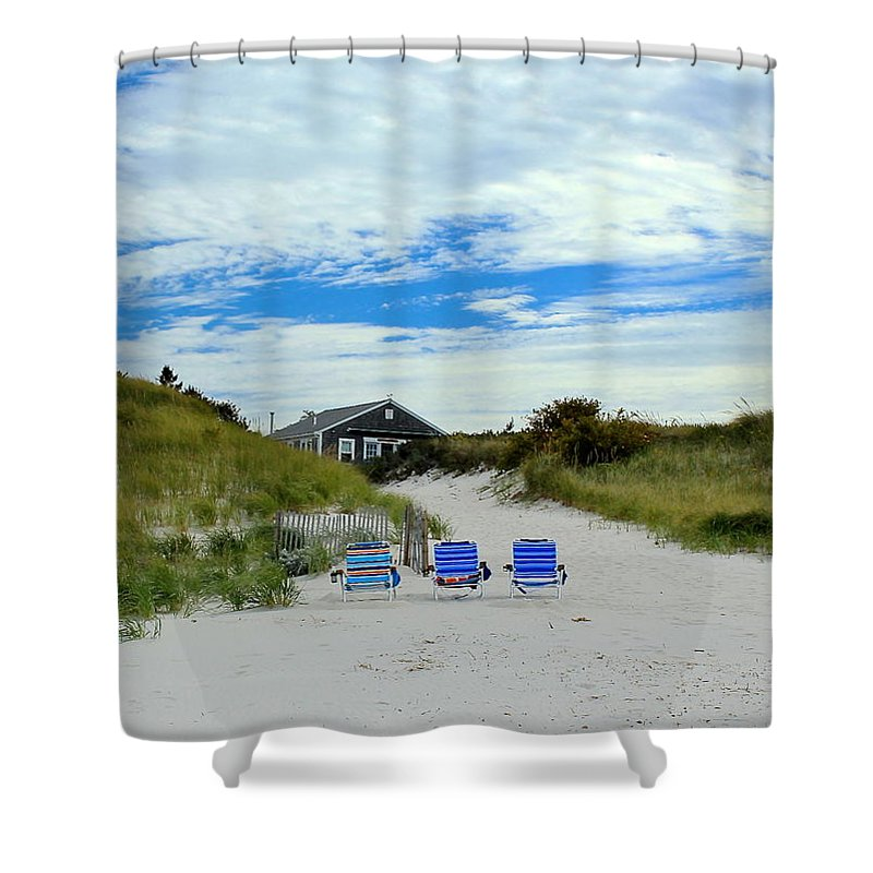 Beach Shower Curtain featuring the photograph Three Blue Beach Chairs by Amazing Jules