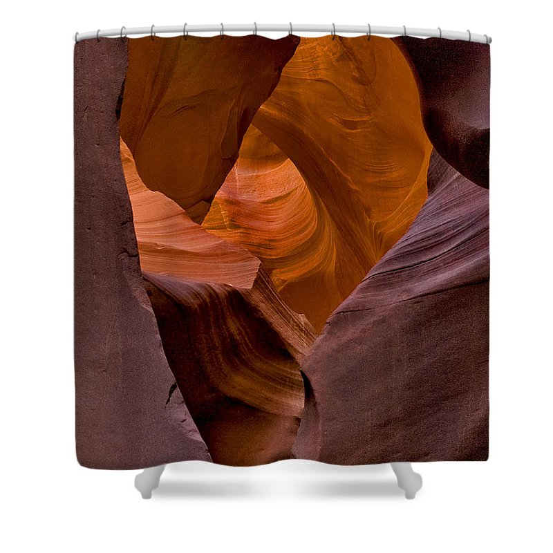 Three Faces In Sandstone At Fine Art America Shower Curtain featuring the photograph Three Faces In Sandstone by Mae Wertz