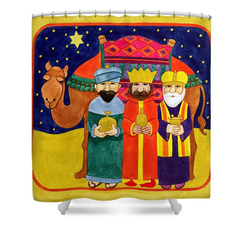 Christmas; Dromedary; Star Of Bethlehem; David; Wise Men; Bearing Gifts; Gift; Beard; Bearded; Star; Starry; Sky; Night; King Shower Curtain featuring the painting Three Kings And Camel by Linda Benton