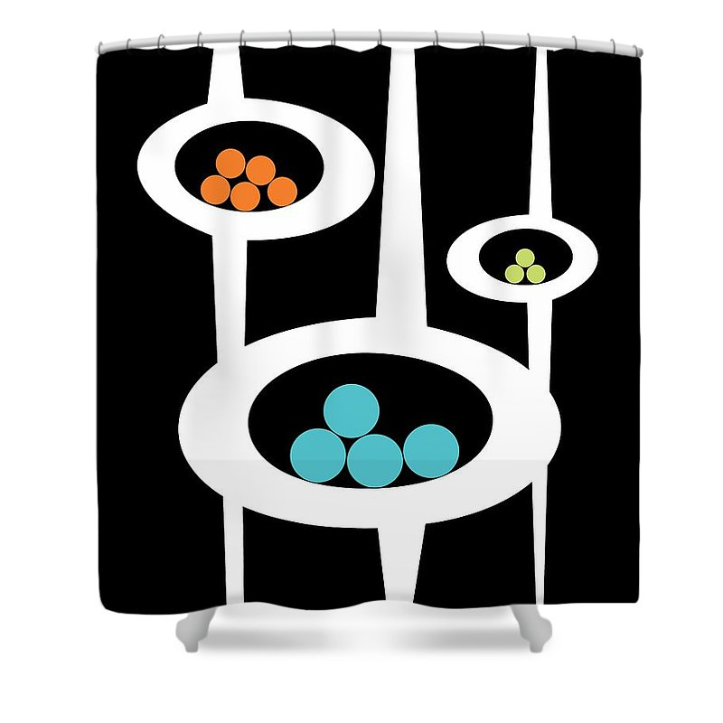 Atomic Shower Curtain featuring the digital art Three Pods I by Donna Mibus