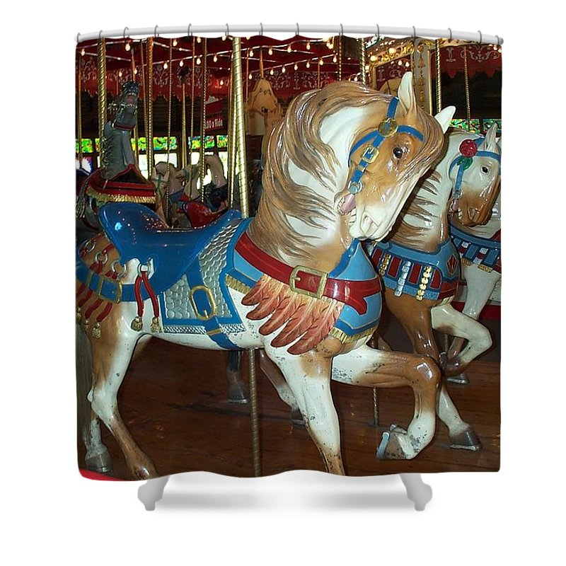 Carousel Shower Curtain featuring the photograph Three Ponies In White And Brown - Ct by Barbara McDevitt