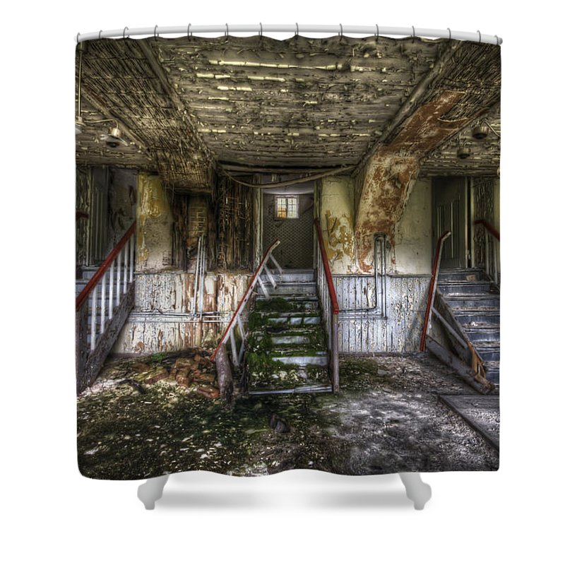German Shower Curtain featuring the digital art Three Stairs To Nowhere by Nathan Wright