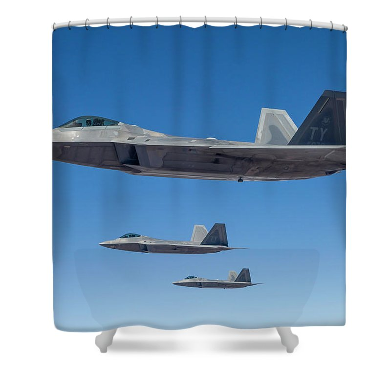 Formation Flying Shower Curtain featuring the photograph Three U.s. Air Force F-22 Raptors by Rob Edgcumbe/stocktrek Images
