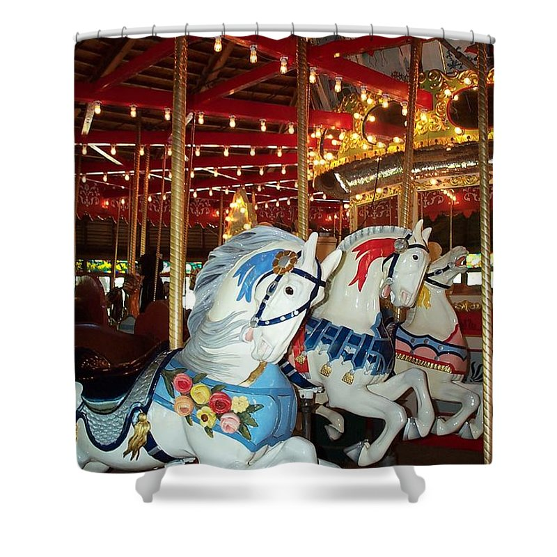 Hartford Shower Curtain featuring the photograph Three White Ponies by Barbara McDevitt