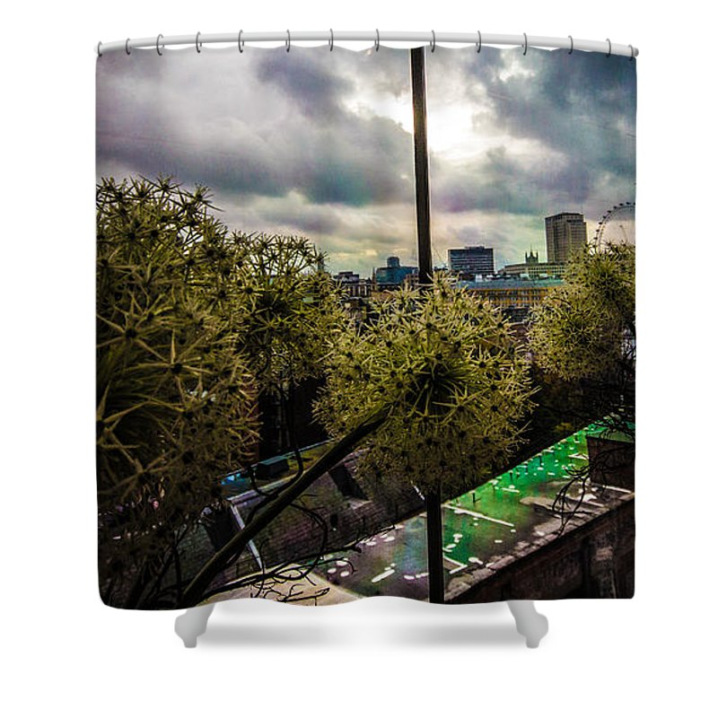City Skyline Shower Curtain featuring the photograph Through A Window by Dawn OConnor
