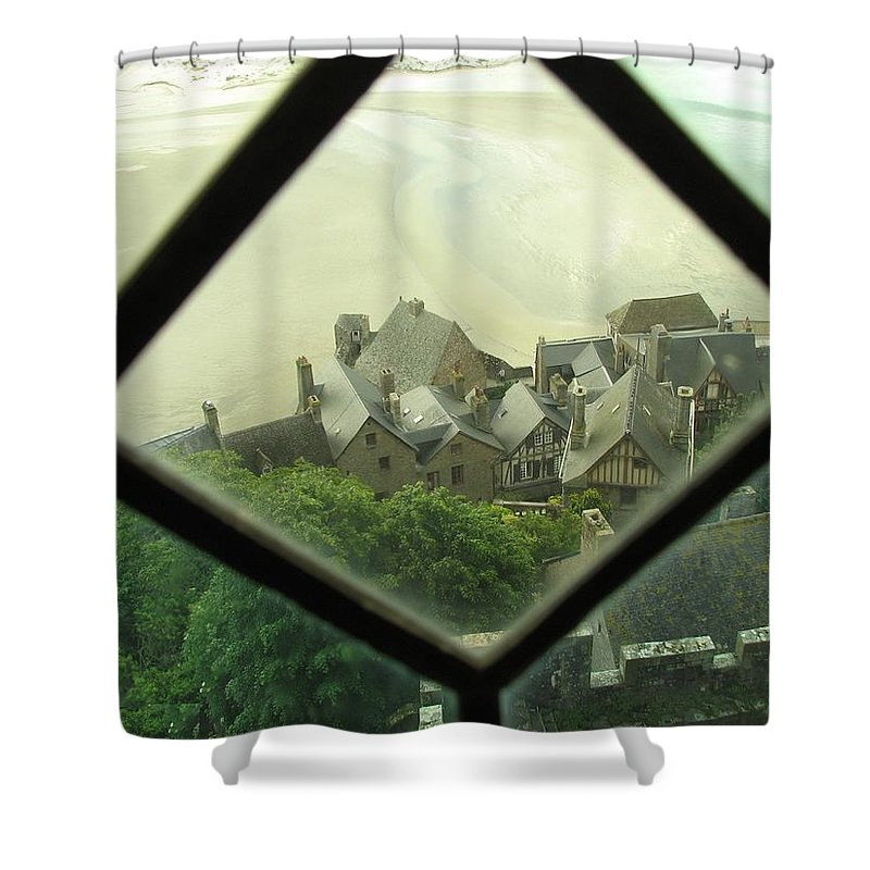 Le Mont St-michel Shower Curtain featuring the photograph Through A Window To The Past by Mary Ellen Mueller Legault