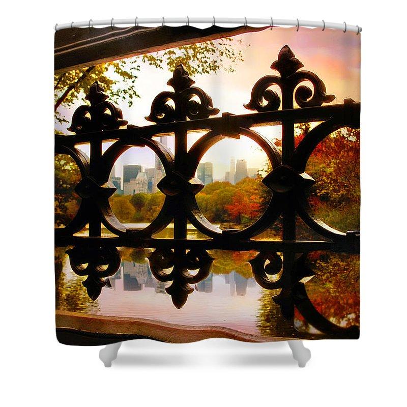 Bridge Shower Curtain featuring the photograph Through Bank Rock Bridge by Jessica Jenney